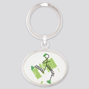 Cute Cross Country Runner Oval Keychain