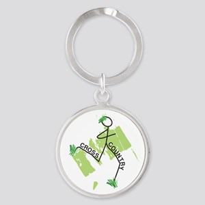 Cute Cross Country Runner Round Keychain