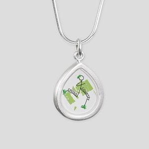 Cute Cross Country Runner Silver Teardrop Necklace