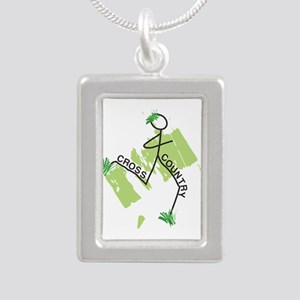 Cute Cross Country Runner Silver Portrait Necklace