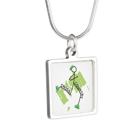 Cute Cross Country Runner Silver Square Necklace