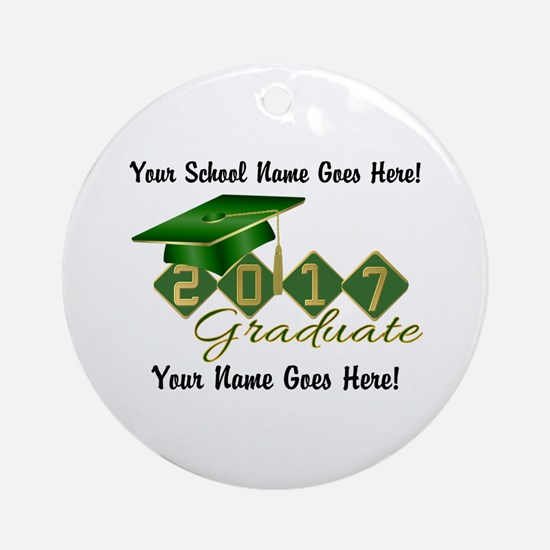 Graduate 2017 Green Gold Round Ornament