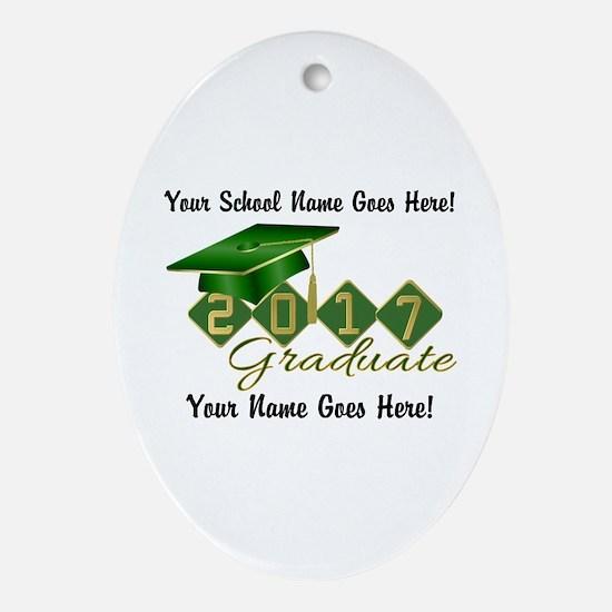 Graduate 2017 Green Gold Oval Ornament