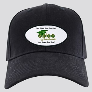 Graduate 2017 Green Gold Black Cap With Patch