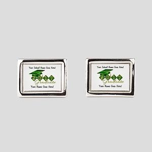 Graduate 2017 Green Gold Rectangular Cufflinks