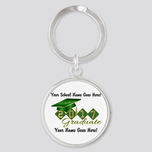 Graduate 2017 Green Gold Keychains