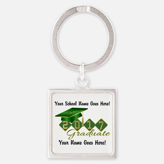 Graduate 2017 Green Gold Keychains