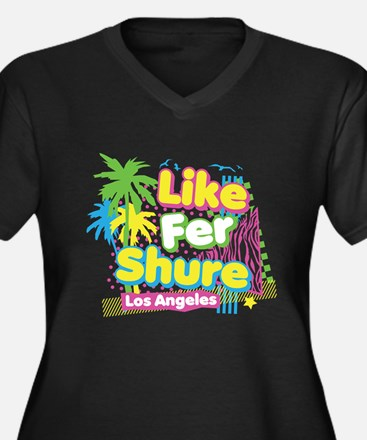 Like Fer Shure Women's Plus Size V-Neck Dark T-Shi