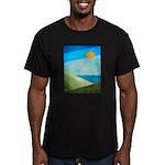 Green Fields Blue Waters Men's Fitted T-Shirt (dar
