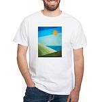 Green Fields Blue Waters White T-Shirt