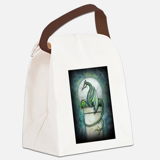 Green Dragon Fantasy Art Canvas Lunch Bag