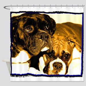 Boxer Dog Friends Shower Curtain