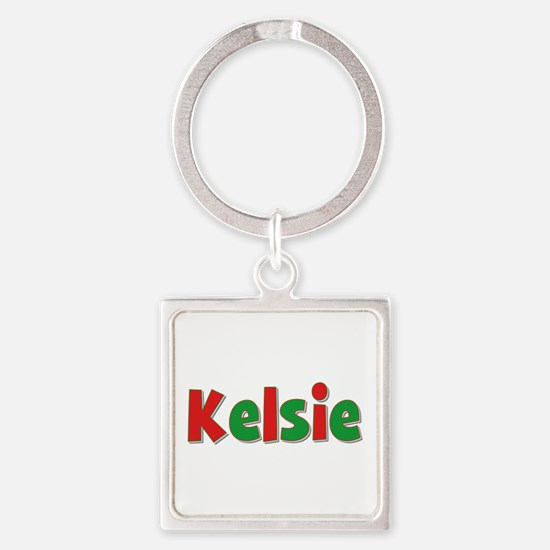 Kelsie Christmas Square Keychain