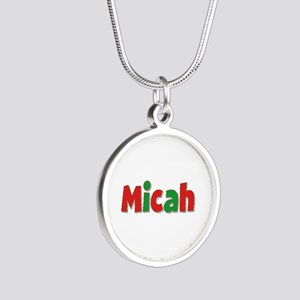 Micah Christmas Silver Round Necklace