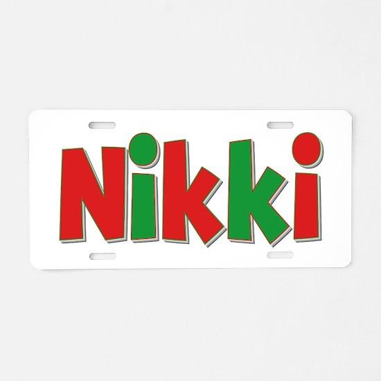 Nikki Christmas Aluminum License Plate