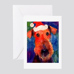 airedale SANTA HAT Greeting Cards