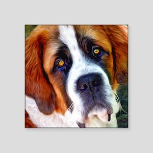 "St Bernard Dog Photo Painting Square Sticker 3"" x"