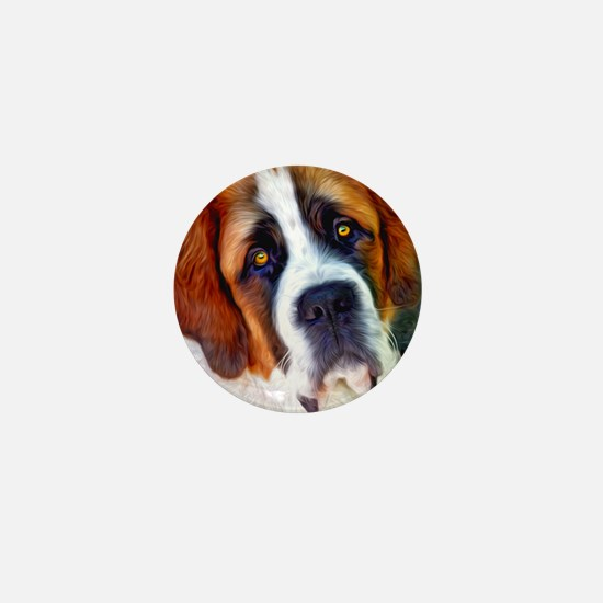 St Bernard Dog Photo Painting Mini Button