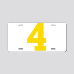 4 YELLOW # FOUR Aluminum License Plate