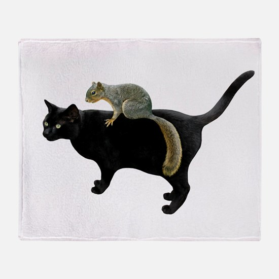 Squirrel on Cat Throw Blanket