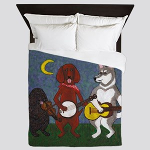 Country Music Dogs Queen Duvet
