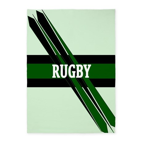 Rugby Points Black Green 5'x7'Area Rug