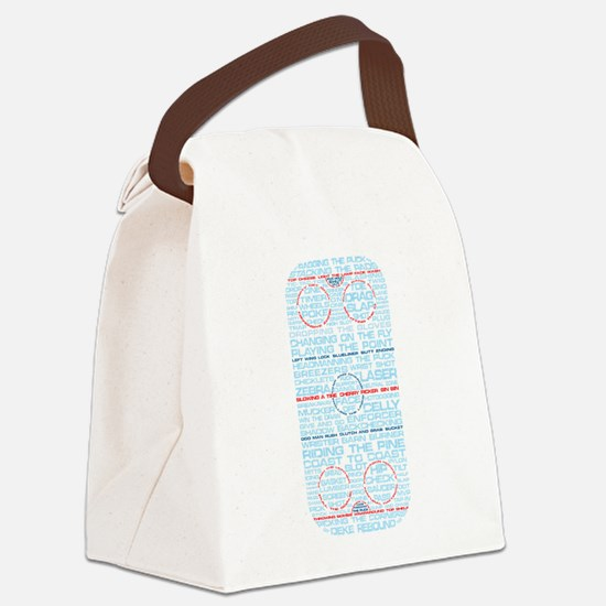 Hockey Rink Typography Design Canvas Lunch Bag