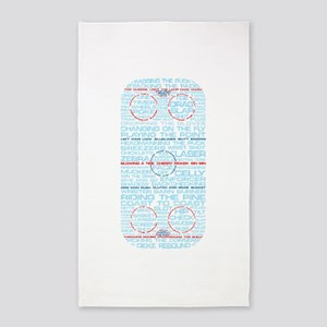 Hockey Rink Typography Design 3'x5' Area Rug