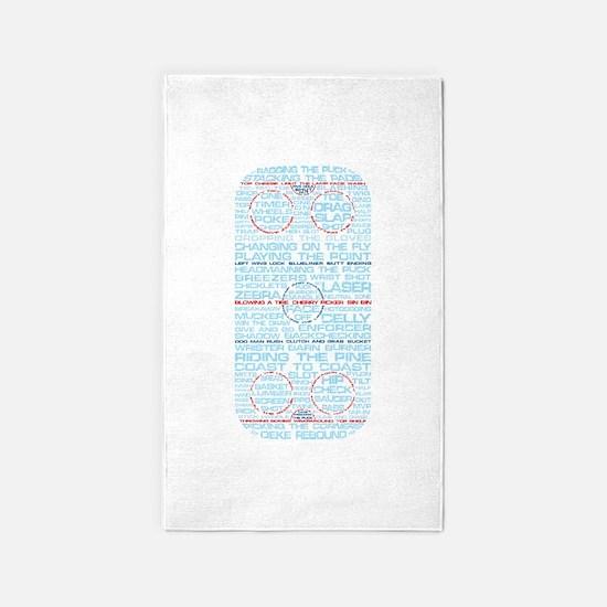 Hockey Rink Typography Design 3'x5' Area Rug