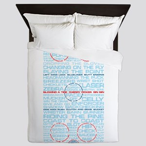 Hockey Rink Typography Design Queen Duvet