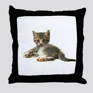 "Cute Tabby Kitten ""Meow"" Throw Pillow"