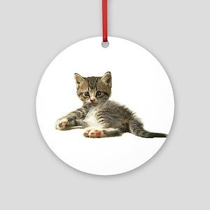 "Cute Tabby Kitten ""Meow"" Ornament (Round)"