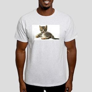 """Cute Tabby Kitten """"Meow"""" Light T-Shirt"""