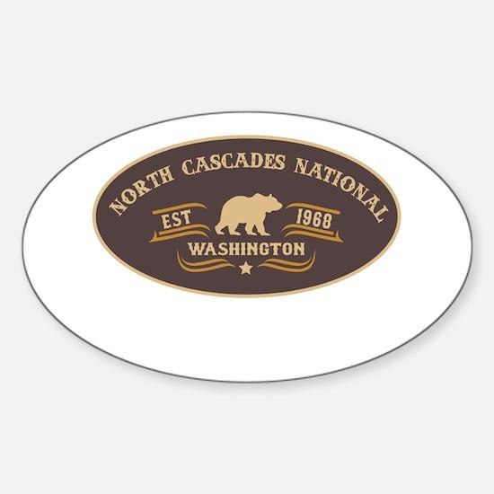 North Cascades Belt Buckle Badge Sticker (Oval)