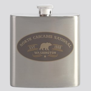 North Cascades Belt Buckle Badge Flask