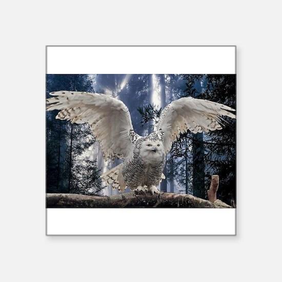 "Woody Snow Owl Square Sticker 3"" x 3"""