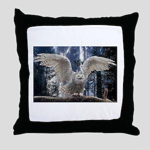 Woody Snow Owl Throw Pillow