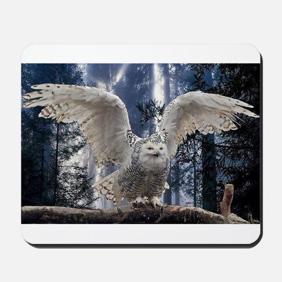 Woody Snow Owl Mousepad
