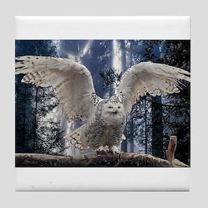 Woody Snow Owl Tile Coaster