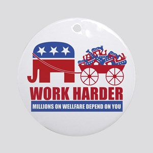 Work Harder Ornament (Round)