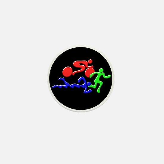 Triathlon Color Figures 3D Mini Button