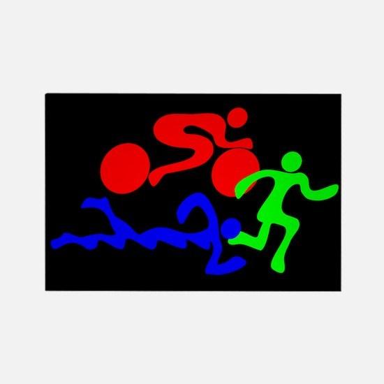 Triathlon Color Figures FLAT Rectangle Magnet (10