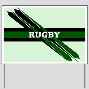 Rugby Points Black Green Yard Sign