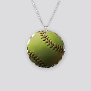 Yellow Softball Necklace Circle Charm