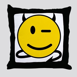 Smiley Devil Throw Pillow