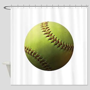 Yellow Softball Shower Curtain