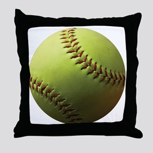 Yellow Softball Throw Pillow