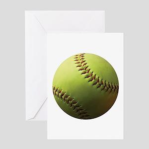 Yellow Softball Greeting Card