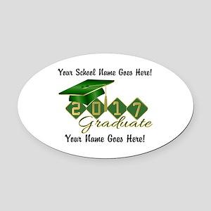 Graduate 2017 Green Gold Oval Car Magnet