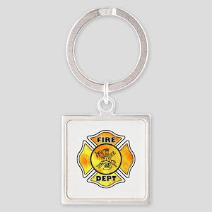 Fire Dept Maltese Cross Square Keychain